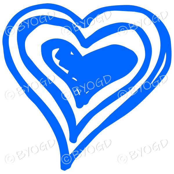 Blue triple heart doodle