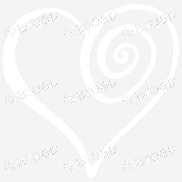 White spiral heart sticker