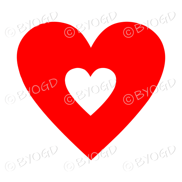 Red love heart with clear cut-out middle