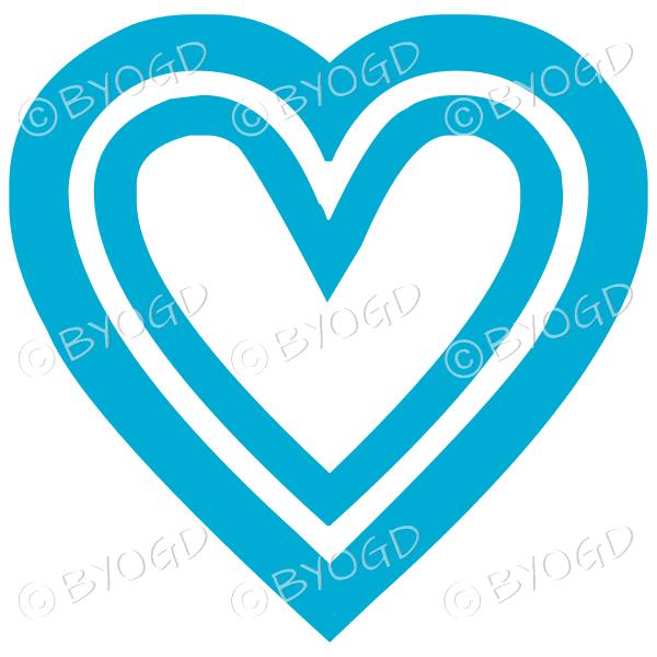 Light Blue double heart icon sticker