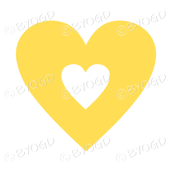 Yellow love heart with clear cut-out middle