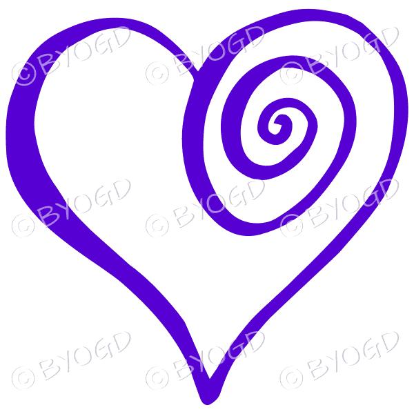 Purple spiral heart sticker
