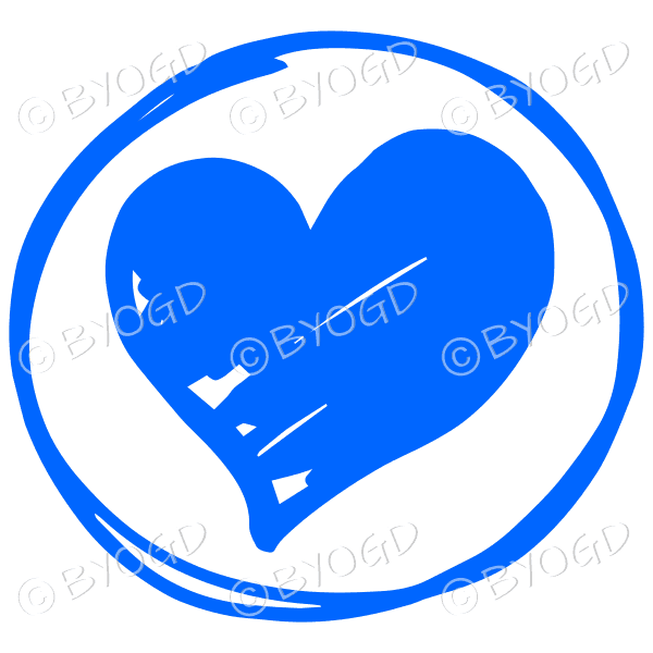 Blue heart in a clear circle