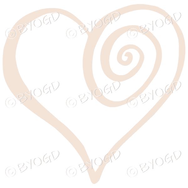 Beige spiral heart sticker