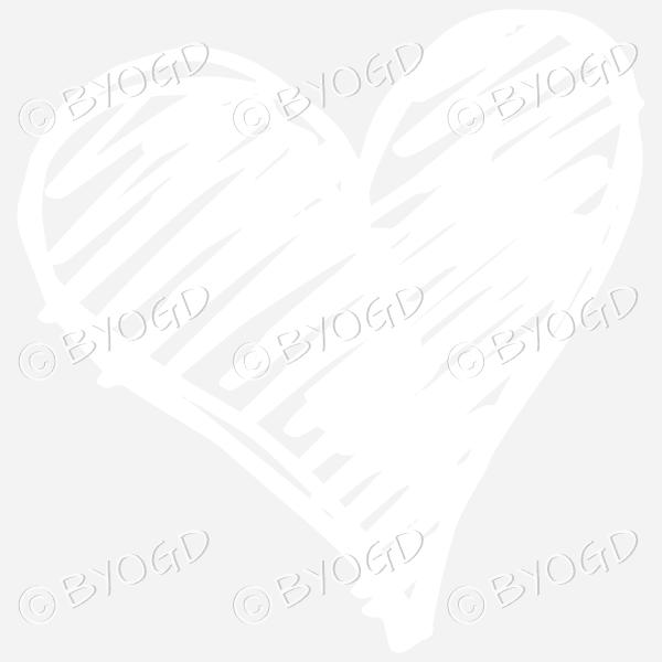 White heart scribble