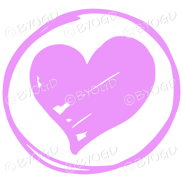 Pink heart in a clear circle