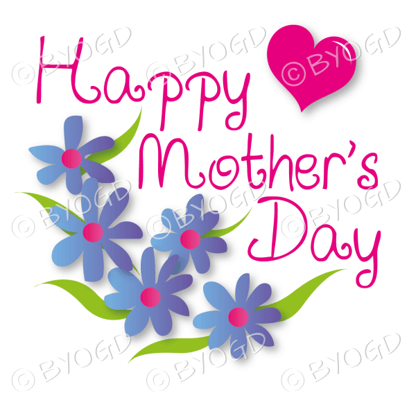 Happy Mother's Day with blue flowers and a red heart