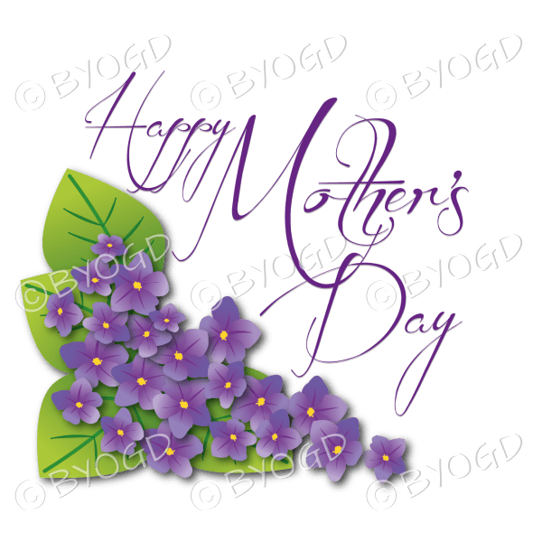 Happy Mother's Day with purple violets