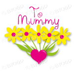 To Mummy with Yellow Flowers in a Heart