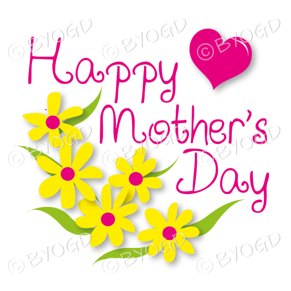 Happy Mother's Day with yellow flowers and a red heart