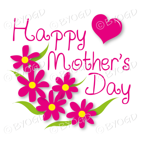 Happy Mother's Day with dark pink flowers and a heart
