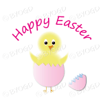 Happy Easter - Yellow chick in pink egg with blue lining