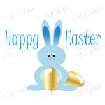 Light Blue Easter bunny with gold Easter eggs