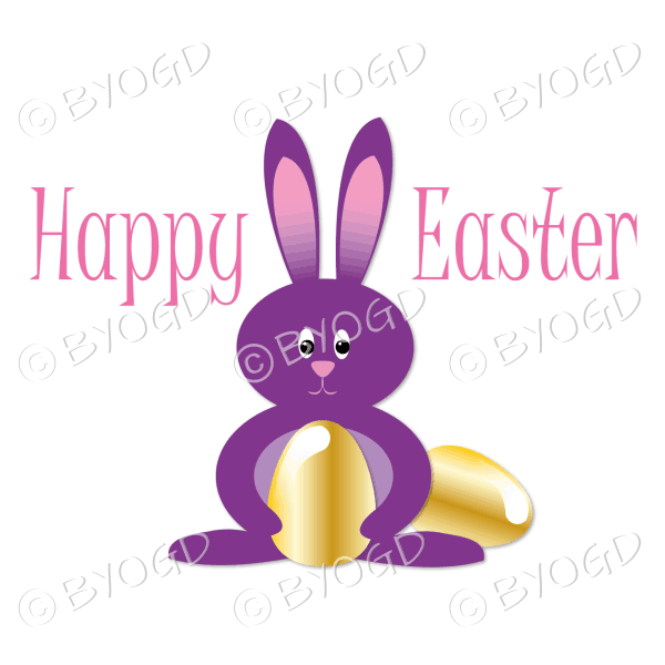 Purple Easter bunny with gold Easter eggs
