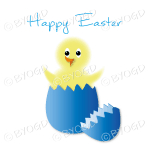 Yellow Easter chick in a blue egg