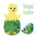 Yellow Easter chick in green, blue and orange design scroll egg