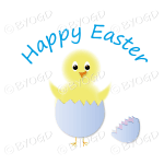 Yellow Easter chick in purple egg