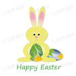 Yellow Easter bunny with green, blue and orange design scroll egg