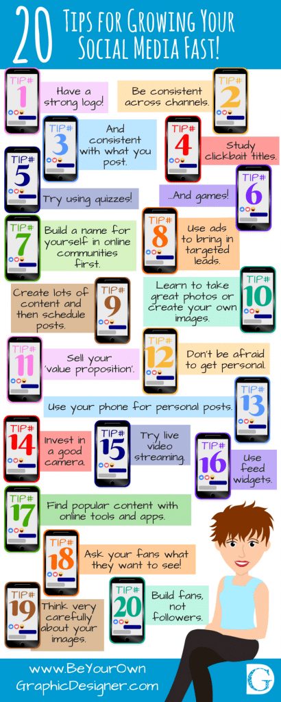 20 Tips for Growing Your Social Media Fast infographic
