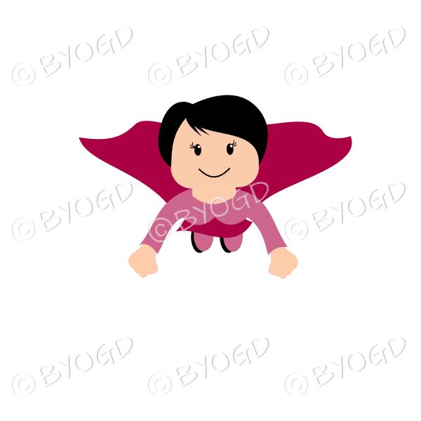 Woman superhero flying in red
