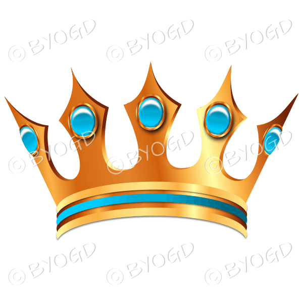 Gold crown with light blue jewels