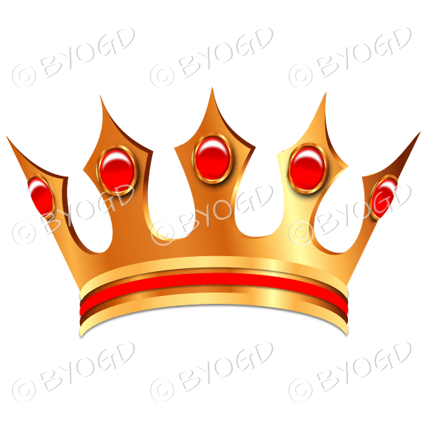 Gold crown with red jewels