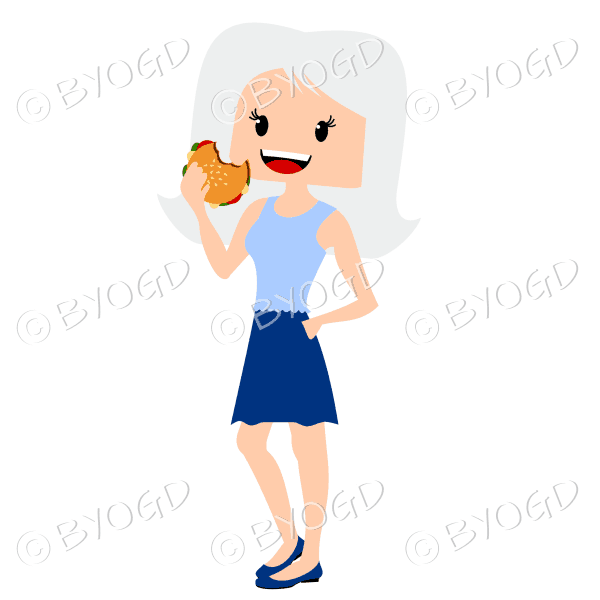 Woman with long silver blonde hair eating burger wearing blue and light blue outfit