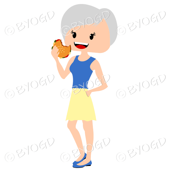 Woman with short grey hair eating burger wearing blue and yellow outfit