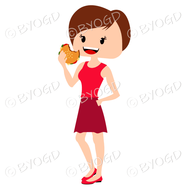 Woman with short brown hair eating burger wearing red outfit