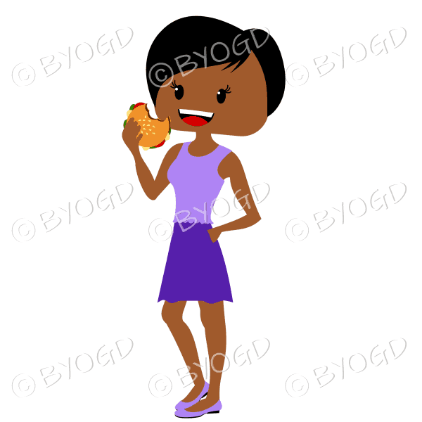 Woman with short dark hair eating burger wearing purple outfit