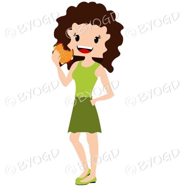 Woman with curly dark hair eating burger wearing green outfit
