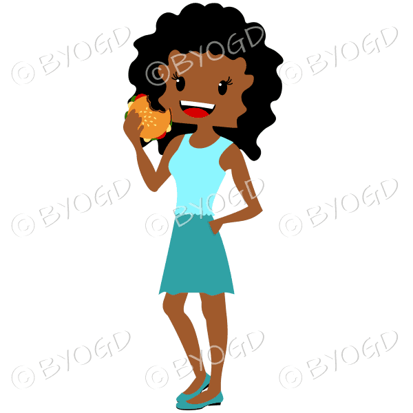 Woman with dark/black curly hair eating burger wearing light blue and turquoise blue outfit