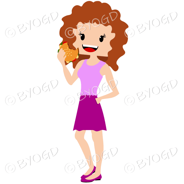 Woman with curly brown/auburn hair eating burger wearing pink outfit