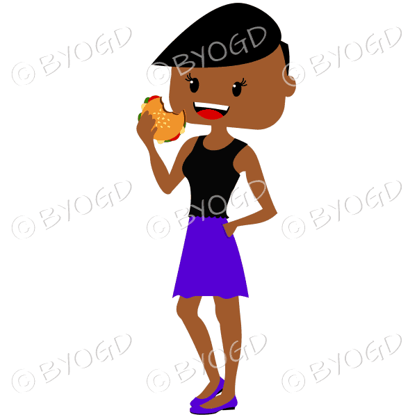 Woman with short dark/black hair eating burger wearing black and purple outfit