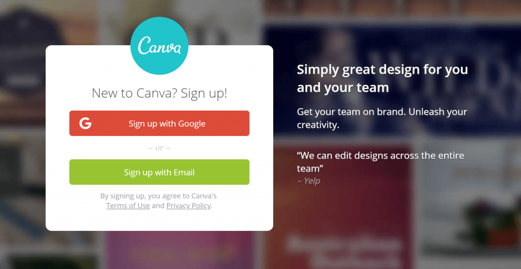 Canva Small Business Sign Up