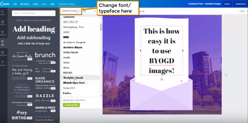 Change font/typeface