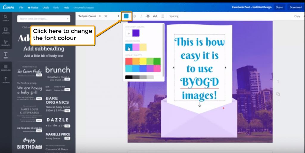 Change the font colour