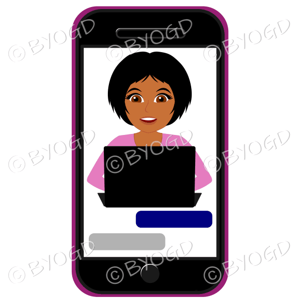 Businesswoman with short black hair working framed by cell/mobile phone wearing pink