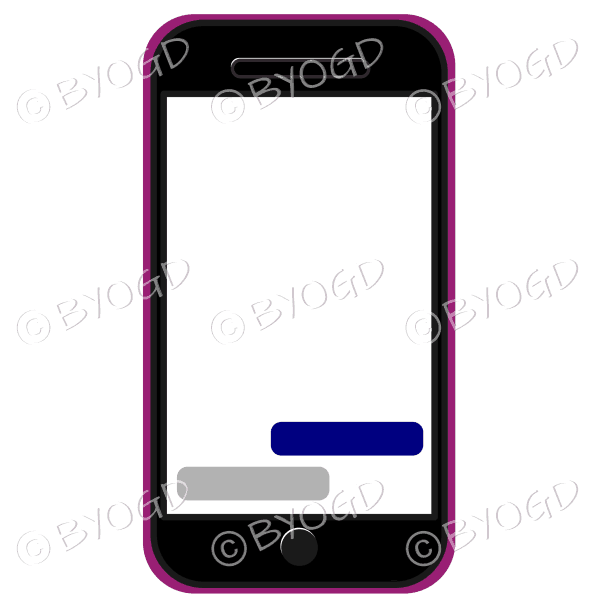 Blank cell/mobile phone for your own message in pink