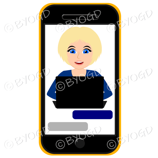 Businesswoman with short blonde hair working on computer framed by cell/mobile phone wearing blue