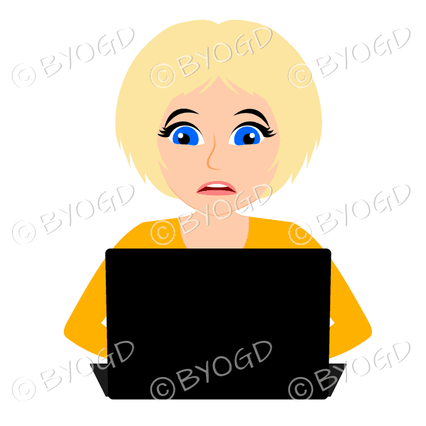 Stressed businesswoman with short blonde hair working at laptop computer in yellow