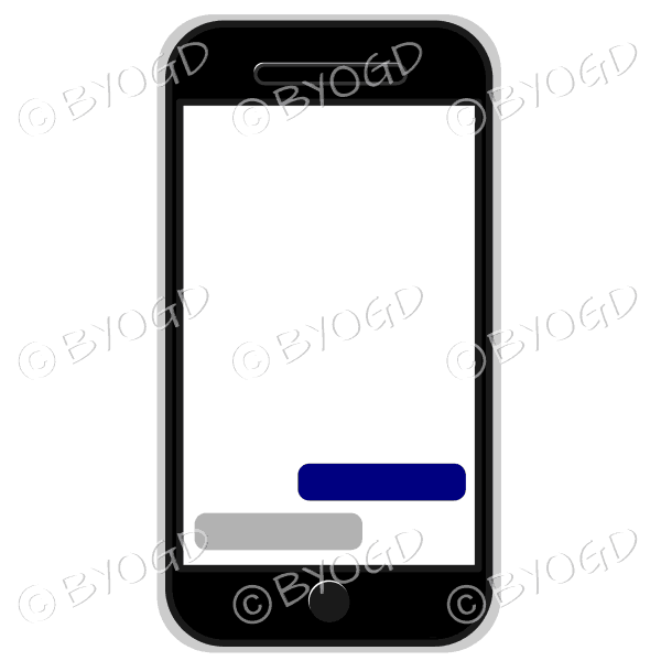 Blank cell/mobile phone for your own message in grey silver