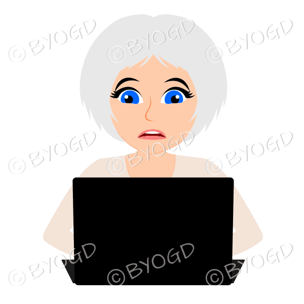 Stressed businesswoman with silver/grey hair working at laptop computer in brown beige
