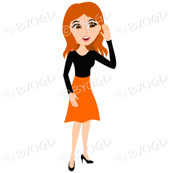Businesswoman with long red hair listening to office feedback or gossip in orange