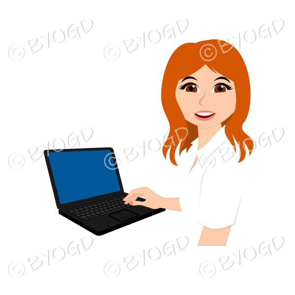 Businesswoman with long red hair working at laptop computer