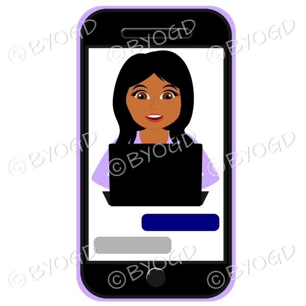 Businesswoman with long black hair working on computer framed by cell/mobile phone wearing purple