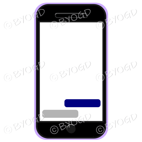 Blank cell/mobile phone for your own message in purple