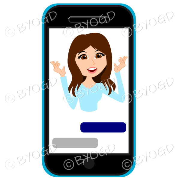 Businesswoman with long brown hair talking framed by cell/mobile phone wearing light blue