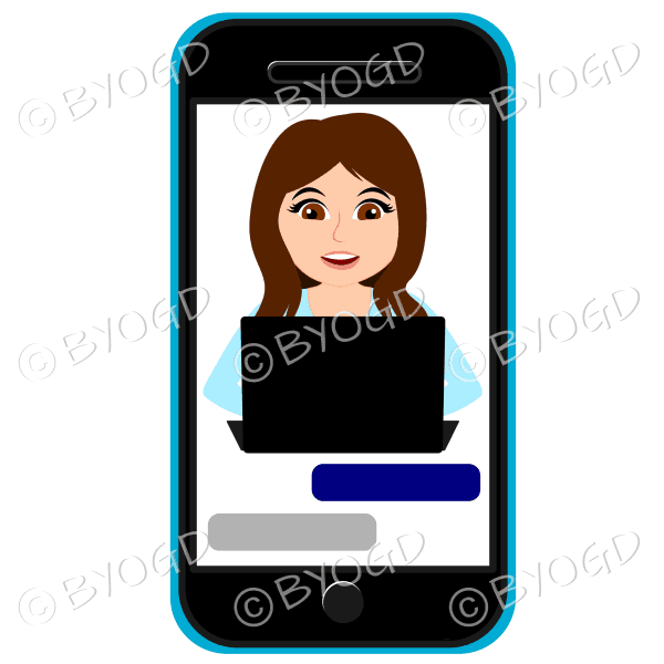 Businesswoman with long brown hair working on computer framed by cell/mobile phone wearing light blue
