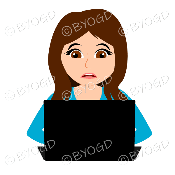 Stressed businesswoman with long brown hair working at laptop computer in light blue